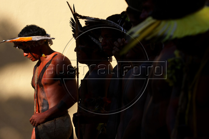 Members of the Fulni-ô tribe perform at the Museum of the Indian in Rio de Janeiro, Brazil, April 20, 2009. A Fulni-ô's tribe, from Brazil's north-est Pernambuco state were at the museum to participate at festivities for Brazil's Indian day; the Fulni-ô tribe preserve and practice the original language and culture.(Australfoto/Douglas Engle)