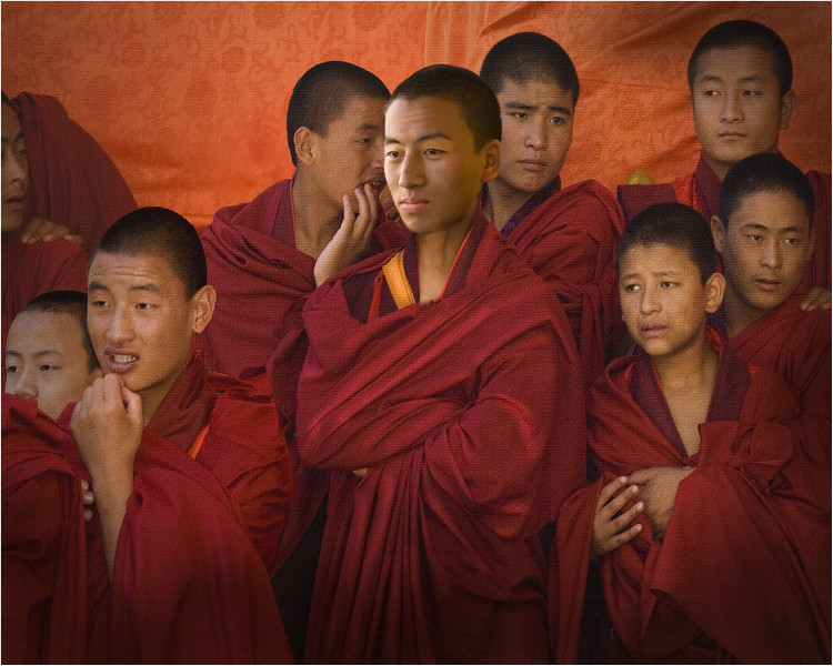 Tibetan monks watching a festival