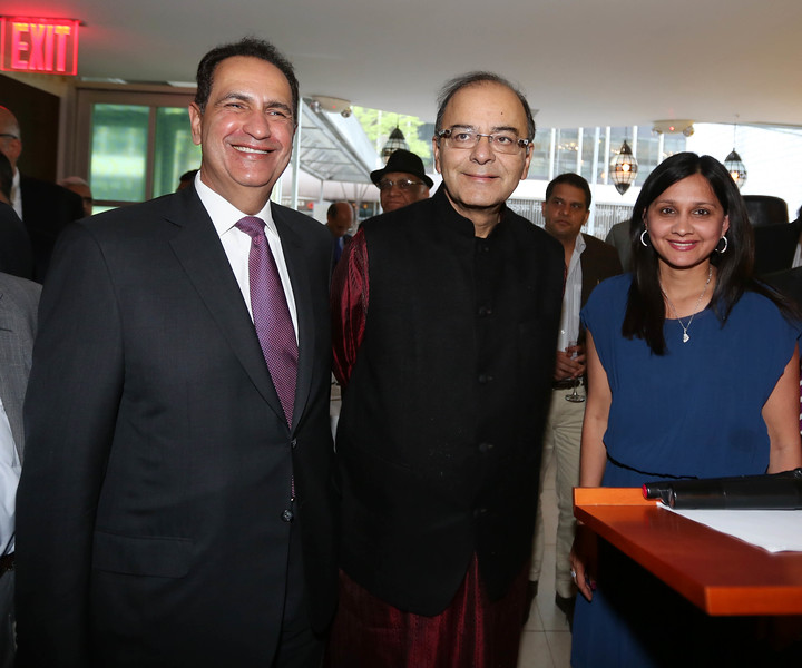 Finance Minister Arun Jately  being received by Rajiv Khanna Chambers President  at reception hosted by India-America Chamber of Commerce at Tulsi restaurent in New York on 19th April 2016, ....pic ohammed Jaffer-SnapsIndia
