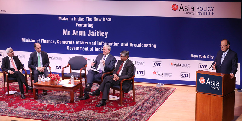 """Finance Minister Arun Jaitley  speaking on ' Make in India"""" The New Deal at Asia Society in New York on 18th April 2016 ...pic Mohammed Jaffer-snapsindia"""