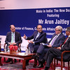 "Finance Minister Arun Jaitley  speaking on ' Make in India"" The New Deal at Asia Society in New York on 18th April 2016 left to right  Shaktikanta Das Secretary Ministry of Finance,Dr.Naushad Frobes President CII,Minister speaking ,Kevin Rudd President Asia Society Policy  Instutute 26th PM of Australia and Indian Ambassador Arun Kumar Singh at right can be seen....pic Mohammed jaffer-Snapsindia"