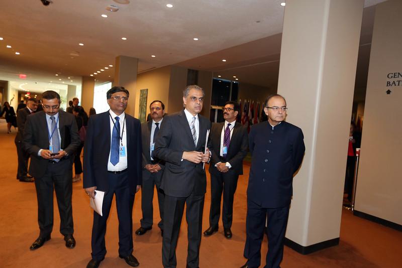 Finance minister Arun Jately with India's Ambassador to UN Syed Akberuddin at UN on 19th April 2015......Mohammed Jaffer-Snapsindia