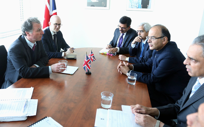 Finance minister Arun Jately  UK Minister Oliver Letwin MP,Minister for Cabinet office UK at UN on 19th April 2015......Mohammed Jaffer-Snapsindia