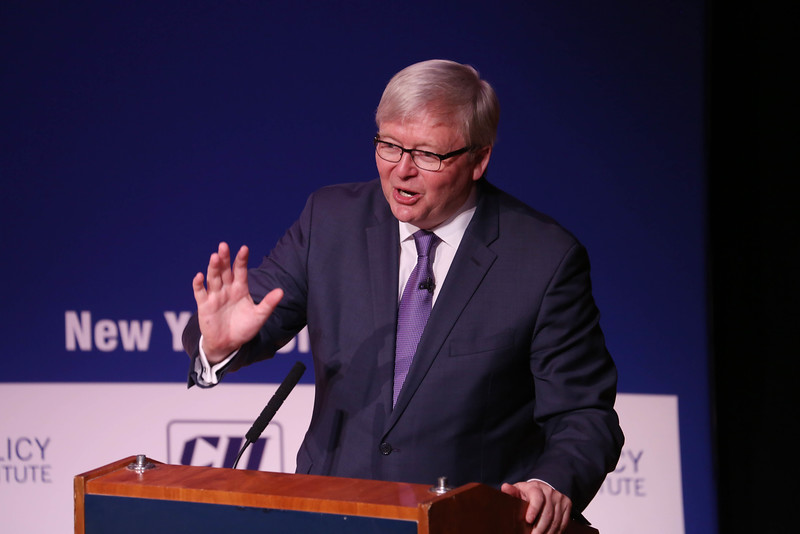 """Kevin Rudd 26th Pm of Australia and President Asia Society Policy Institute during ' Make in India"""" The New Deal at Asia Society in New York on 18th April 2016 ...pic Mohammed Jaffer-snapsindia"""