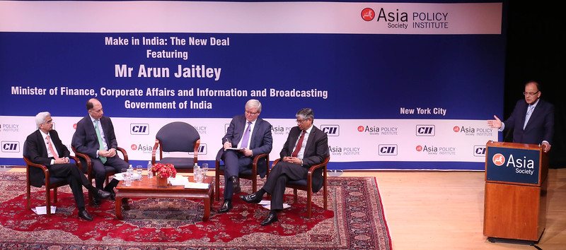 """Finance Minister Arun Jaitley  speaking on ' Make in India"""" The New Deal at Asia Society in New York on 18th April 2016 left to right  Shaktikanta Das Secretary Ministry of Finance,Dr.Naushad Frobes President CII,Minister speaking ,Kevin Rudd President Asia Society Policy  Instutute 26th PM of Australia and Indian Ambassador Arun Kumar Singh at right can be seen....pic Mohammed jaffer-Snapsindia"""