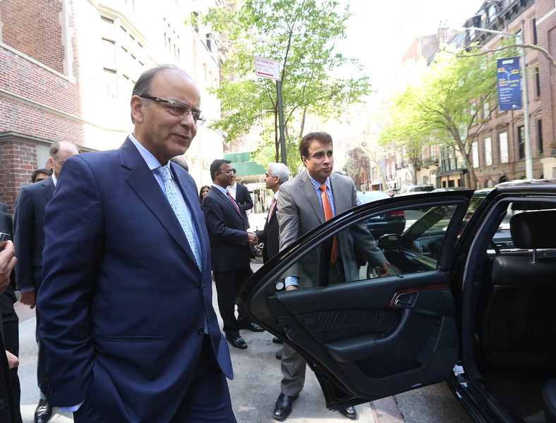 Finance Minister Arun Jaitley after speaking at Asia Society in New York on 18th April 2016....pic Mohammed jaffer-Snapsindia