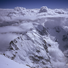 Looking down on the Mazeno Ridge of Nanga Parbat from near the summit of this 8126 meter peak, the world's ninth highest.  Together with Ivan Dusharin on the top, this ascent marked the first Russian and first American ascent of the mountain.