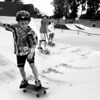 """Greg Manney, 12, skates with Conner Morse (left), 8, and Josh McCauley, 8, at the Melissa L. Penfield skate park in Plattsburgh. Morse's father, Dick, said, """"The little boy (Josh) has no fear, and Conner is really driven.""""<br><br>(Staff Photo/Kelli Catana)"""
