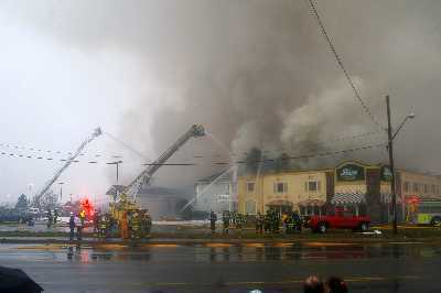 Photos from a fire at the Comfort Inn in Plattsburgh.  Firefighters from across the North Country battled the Blaze.<br><br>(Staff Photo/Robert Parks)