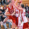 Moriah's Nick Slattery (10) tries to pass the ball between Schroon Lake defenders Brennan Bush (34) and Dennis LeClair (20) during Thursday's Class D semifinal. The Vikings outlasted the Wildcats, 55-50, in overtime. Bonus photos at www.pressrepublican.com.<br><br>(Staff Photo/Michael Betts)
