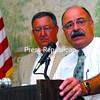 Plattsburgh Town Supervisor Bernie Bassett (right) and Plattsburgh City Mayor Donald Kasprzak speak at the Plattsburgh Noon Rotary meeting at the Elks Lodge.<br><br>(P-R Photo/Rachel Moore)