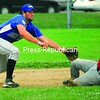 Plattsburgh Cardinals runner Jason Perry (8) slides safely into second base as Loreman's Royals shortstop Jacque DeMars awaits the late throw during Sunday's CVBL quarterfinal playoff game at Lefty Wilson Field. The Cardinals rolled to a 21-7 victory.<br><br>(P-R Photo/Rachel Moore)