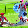 Plattsburgh's Garrett Frady (24) is thrown out at second base during Little League District 37 Championship game Saturday at Penfield Park. Plattsburgh defeated Massena 9-8 to successfully defend its district title.<br><br>(P-R Photo/Rachel Moore)