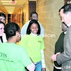 College for Every Student President Rick Dalton checks with students in the hallway at Willsboro Central School to see how their day is going. Students from Harlem spent eight days with the local students.<br><br>(Staff Photo/Alvin Reiner)