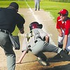 City Police baserunner Brady Burleigh is tagged out at home plate by City Fire pitcher Brandon Rabideau Tuesday in the second game of the City Babe Ruth Championship series at Lefty Wilson Field. City Police won twice to win the series.<br><br>(P-R Photo/Michael Betts)