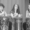 """The Elizabethtown-Lewis Central School Music Department recently presented its eighth-annual lasagna dinner and chamber music concert. The repertoire ranged from mellow """"Greensleeves"""" to the Regents' rocking """"Barbara Ann."""" From left, Greg Dedam, Abbie Burdo and Megan Rushby entertain with the school's African Drumming Ensemble.<br><br>(Staff Photo/Alvin Reiner)"""