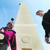 Trevor Bibeau (left) and Tim Allegrucci play hacky sack in front of Macdonough Monument in Plattsburgh. Today will be a good one for outside fun: sunny with highs in the 50s.<br><br>(P-R Photo/Michael Betts)