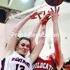Westport's Sarah Gibbs (13) goes against Schroon Lake's Mindy Whitty (53) for a rebound. Westport won 35-29. Bonus photos from this game will be available at midday on pressrepublicanphotos.com.<br><br>(P-R Photo/Michael Betts)