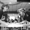 Tracey Howard and Megan Reilly (right) clean a table during McTeacher Night at McDonalds. Peru teachers and staff volunteered their time after school to help serve dinner to hungry customers at McDonalds in Peru. A portion of the proceeds will support Peru's K-5 Parent Teacher Organization's efforts to fund field trips, visiting authors and performing artists.<br><br>(P-R Photo/Rachel Moore)
