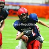 Moriah's Tom Tesar (17) is stripped of the ball by a Cardinals defender.<br><br>(P-R Photo/Richard Mossotti)