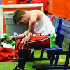 Moriah's Todd Boyea rests after being injured in the fourth quarter. <br><br>(P-R Photo/Richard Mossotti)