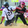 Mary Bostwick (21) slides safely into second as Plattsburgh State's Amy Woo tries to make the play Saturday in women's softball at Cardinal Park. Bostwick hit a home run and earned the pitching win for Geneseo in Game 2, while the Cardinals won Game 1.<br><br>(P-R Photo/Gabe Dickens)