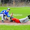 Plattsburgh High's Brian Latulipe dives headfirst into second to beat the throw in CVAC baseball action Tuesday in Peru. PHS went on to beat Peru 12-2 in the conference opener for both teams. Bonus photos of this game will be available at pressrepublicanphotos.com by midday.<br><br>(P-R Photo/Andrew Wyatt)