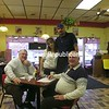 "Earl Burnell (from left), Nicole and Jerry Franco and Red Burnell at Franco's in Plattsburgh where the Burnell brothers are regular customers. ""It's the best place to eat in the North Country,"" said Red.<br><br>(P-R Photo/Chris Fasolino)"