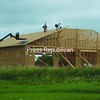 Crews from Tim Lamica Construction begin work on the roofing for the new Fire Station for the Bangor Volunteer Fire Department on Route 11. The site is about a mile west of the current building and could be ready for occupancy by Thanksgiving.<br><br>(Staff Photo/Denise A. Raymo)