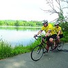 Rich Shapiro and Liny Ellis of Saranac Lake ride their tandem bike around scenic Moody Pond. The couple book several tandem bike tours each year in different parts of New York and the Midwest.<br><br>(P-R Photo/Jack LaDuke)
