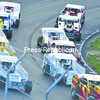 Drivers round a turn during the green-flag lap of a modified qualifying heat at Airborne Speedway. Martin Roy won the feature race, with Patrick Dupree taking second.<br><br>(P-R Photo/Andrew Wyatt)
