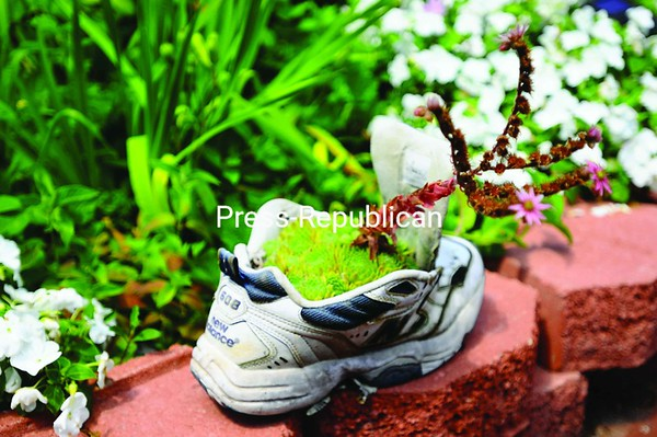 An old sneaker planted with sedum welcomes visitors to the garden.<br><br>(P-R Photo/Sara LoTemplio)
