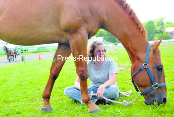 Becca Haggerty of Malone watches her 15-year-old quarterhorse, Doc, as he feeds on grass at the Franklin County Fair. She rode Doc during horse shows at the fair this past week. The county fairs in Malone and Westport wrap up today.  <br><br>(P-R Photo/Andrew Wyatt)