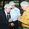Joe DioGuardi (left), Republican candidate for the U.S. Senate, tours Mold-Rite Plastics in Plattsburgh Wednesday with CEO Phil Yates (center) and Vice President of Sales Jake Wilson.<br><br>(Staff Photo/Kelli Catana)