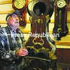 John Blanchfield, of Adirondack Clock Repair in Saranac Lake, looks over an antique French clock needing repair.  Blanchfield has been repairing area clocks for about forty years but will be closing his downtown Saranac Lake shop at the end of November.   <br><br>(P-R Photo/Jack LaDuke)