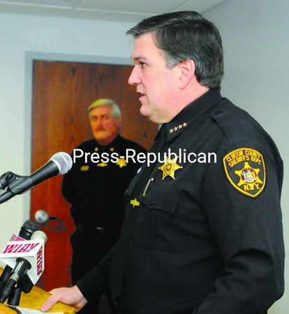 Clinton County Sheriff David Favro details Tuesday how triple-murder suspect Juan Pablo Camacho ended up in New York. The 33-year-old convicted felon is the prime suspect in three cold-case murders on the West Coast. Camacho has waived extradition and will soon be picked up to face the allegations in California. Until then, he will remain at the County Jail.<br><br>(Staff Photo/Kelli Catana)