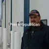 Former Bangor Fire Department Chief Ron St. Hilaire stands in front of the bay doors of the new fire station the department was able to build at the corner of Route 11 and Brockway Road.<br><br>(Staff Photo/Denise A. Raymo)