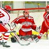 Austin Gilbert helps Saranac goalie Dustin Plumadore stop a shot from Dolan Riley of Saranac Lake during the first period of Monday's game in Saranac Lake. The host Red Storm won 5-1.<br><br>(P-R Photo/Pat Hendrick)