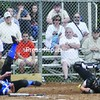 Plattsburgh catcher Karlie Neale (right) corrals the ball as Peru's Jordan Haulton lands on home plate to score the first run in the Indians' 2-0 victory.<br><br>(P-R Photo/Andrew Wyatt)