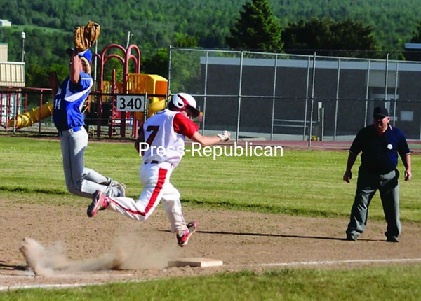 Saranac's Matt Terry (7) beats the throw to first base Friday as Peru first baseman Dylan Daniels (14) leaps in an effort to get the ball. The Chiefs advanced to the Section VII Class B semifinals with a 9-4 victory.<br><br>(P-R Photo/Andrew Wyatt)