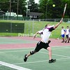 Northeastern Clinton's Devan Poissant lunges to come up with a return in doubles play Saturday in Section VII Tennis Championships. Poissant teamed with Bobby Marks to win and give the Cougars a sweep in doubles.<br><br>(P-R Photo/Andrew Wyatt)