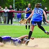 Jenna Priore (32) of Hoosick Falls can't make the play at second base as Ticonderoga's Chelsea Budwick slides in safely. Hoosick Falls advanced to the state semifinals with a 5-2 win. Bonus photos of this game will be available at midday at pressrepublicanphotos.com<br><br>(P-R Photo/Andrew Wyatt)