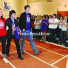 """Taryn Rager, co-chair for the Plattsburgh State Relay for Life, takes the first steps of the fourth-annual event with cancer survivors Dale Rager of Saquoit, N.Y., and Justin Sibley of Peasleeville. """"I never attended a college relay and it's a huge turnout,"""" Sibley said. """"I never expected this many people to be here."""" More than 800 people were registered to participate in the relay held at the Plattsburgh State Field House Friday, with a goal to raise $45,000 to to benefit the American Cancer Society. The Relay for Life of Plattsburgh will be held June 18 at the Clinton County Fairgrounds. <br><br>(Staff Photo/Kelli Catana)"""