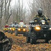Stephen McLean leads a line of ATV enthusiasts as they enjoy a ride on a wooded trail in West Chazy.<br><br>(P-R Photo/Rachel Moore)