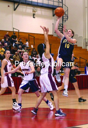 Lake Placid's Molly Ploof puts up a jump shot over a Westport defender in Class D girls' basketball game. Westport won. Bonus photos will be available at pressrepublicanphotos.com on Monday. <br><br>(P-R Photo/Gabe Dickens)