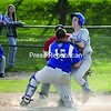 Peru catcher Ben Polhemus (15) puts the tag on Seton Catholic runner Brandon Bombard, who tried to score on Devin Luck's double during the third inning of Thursday's CVAC game. The Indians ended up winning, 20-3. Bonus photos of this game will be available at midday at pressrepublicanphotos.com<br><br>(P-R Photo/Andrew Wyatt)
