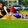 AuSable Valley's Karly Lincoln dives back to first base just in time to beat the tag of Plattsburgh High's Alex Betrus in CVAC softball action Monday at South Acres Field. PHS won 6-1. Bonus photos from this game will be available at pressrepublicanphotos.com by midday.<br><br>(Staff Photo/Kelli Catana)