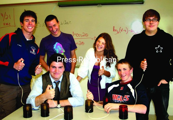 Westport Quiz Bowl members practice their trigger techniques: (standing from left) Alan Ware, Bo McKinley, Kelsey Carroll, and Emile Goss and (sitting) Devin Martin and Kenneth Russell. Absent team members: Nathan Gay and Michael Bodner. <br><br>(Staff Photo/Alvin Reiner)