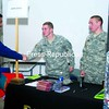 During an internship fair at Plattsburgh State, student Sikandar Syed greets Army ROTC students (from left) Andrew Streim, Michael Rocheleau and Dan Nesel. Syed was one of many students who shopped the fair for internships or jobs.<br><br>(P-R Photo/Andrew Wyatt)