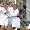 Chazy players celebrate their third goal just before halftime in their Class D soccer semifinal with Fort Ann Saturday in Middletown.<br /><br />(P-R Photo/Pat Hendrick)